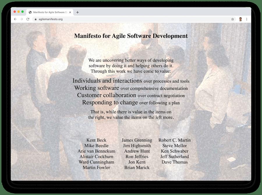 a screenshot of the agile manifesto website